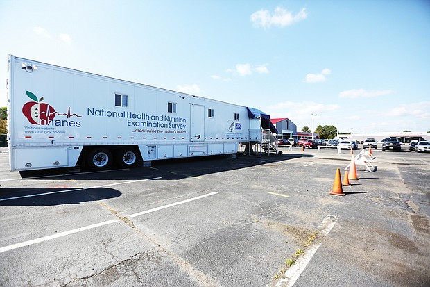 Mobile examination trailers are set up in the parking lot of Celebration Church & Outreach Ministry on Midlothian Turnpike in South Side as part of the National Health and Nutrition Examination Survey. Richmond was one of 15 cities selected to help understand the nutrition and health status of people in the United States.