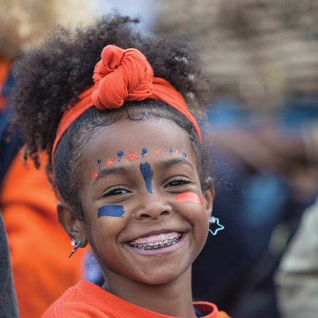 Emma Hairston, 10, is dressed head to toe in the colors of VSU — orange and blue.
