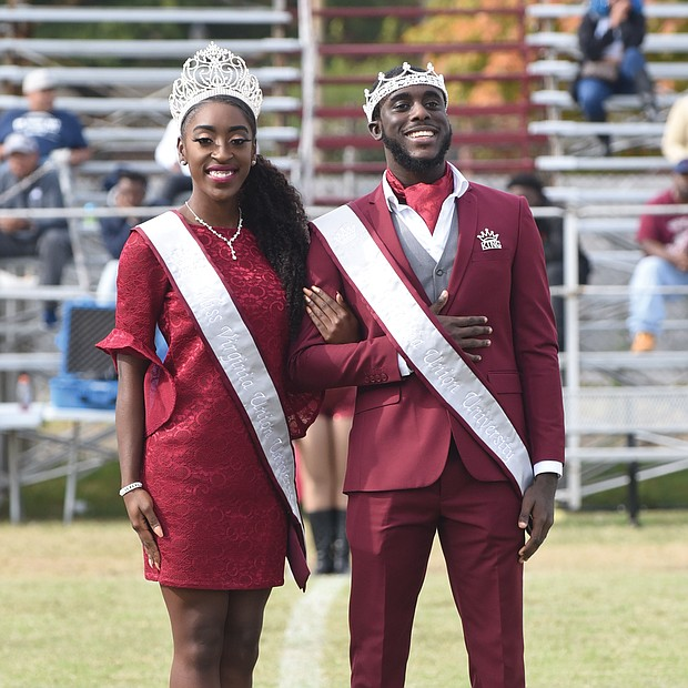 Miss VUU Kamryn Young and Mr. VUU Christian Rowe, both seniors, are introduced to the halftime crowd.