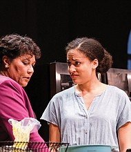 "Jennifer Lanier (left) and Brittany K. Allen in ""Redwood"" at Portland Center Stage The Armory."