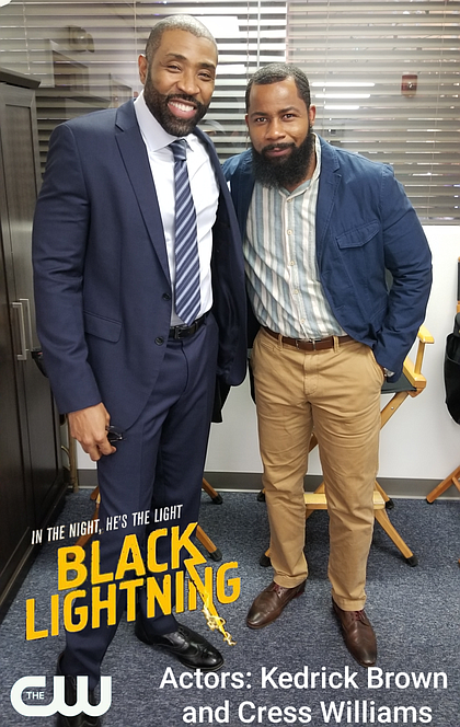 Kedrick Brown on set of Black Lightning with Cress Williams