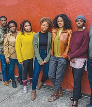 "A local group of actors raised their voices to collaborate with Portland playwright Damaris Webb to write the script and then perform in ""SOUL'D: The Economics of our Black Body"" a new play that delves into the economic dreams and realities for black Americans, coming Thursday, Nov. 14 to Nov. 24 to the Interstate Firehouse Cultural Center.  They are (from left) are Ken Dembo, La'Tevin Alexander, Shareen Jacobs, Catherine Braxton, Tyharra Cozier, Webb, Sydney Jackson and Auntais Faulkner."