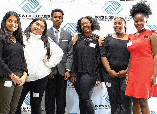Joliesse Carmona-Perez (far right) is the new 2020 Portland Youth of the Year for metro area Boys & Girls Clubs. She is joined by all five of the other deserving youth who were candidates for the honor, Arianna Perez-Garcia, TreNisha Shearer,  La'Markus Causey, Gia Sevier and Alexa Ramirez-Hernandez.