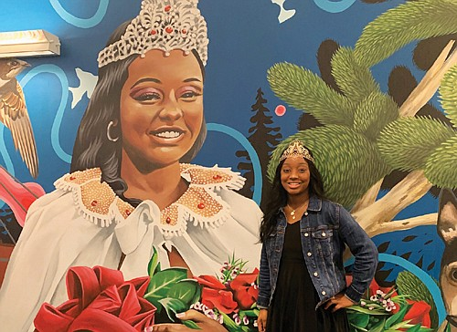 2019 Rose Festival Queen Mya Brazile is one of the featured images in a new street art display at Portland ...
