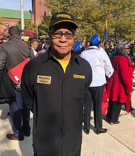 Commander Bernard Watts of The National Association for Black Veterans is among the hundreds who paid tribute during a special ceremony commemorating vets at the Baltimore City War Memorial November 11, 2019.