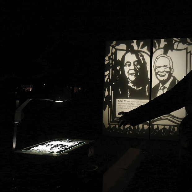"""The installation """"A Garden of Illuminated History"""" by Detroit-based artist Carrie Morris, a Midlothian native, illuminates figures of late activist Lillie Estes and Raymond H. Boone Sr., the late founder and publisher of the Richmond Free Press."""