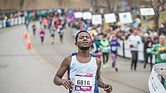 Ashenafi Birhana, a native of Ethiopia who now lives in Washington, crosses the finish line last Saturday to win the 42nd Annual Richmond Marathon with a time of 2:19:23.