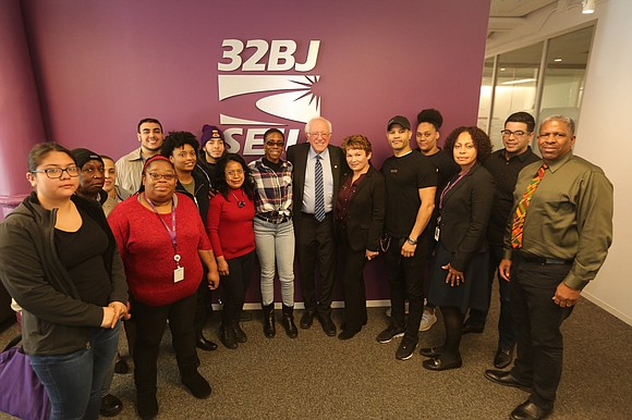 U.S. Senator and Presidential Candidate Bernie Sanders met with 32BJ officials