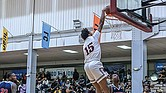 Virginia Union University's Jordan Peebles scores a team-high 16 points and 10 rebounds at the Panthers' home opener on Nov. 13 against Catawba College at Barco- Stevens Hall. Catawba defeated VUU 84-69.