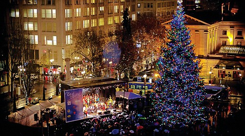 Portland's annual Tree Lighting Ceremony is a joyful and festival sing-a-long that takes place the day after Thanksgiving at Pioneer Courthouse Square, downtown.