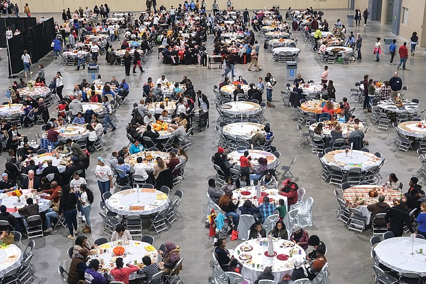 The Giving Heart's annual free Community Thanksgiving Feast at the Greater Richmond Convention Center in Downtown
