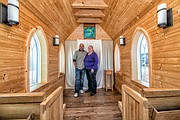 The chapel, owned by Bil Malbon of Tiny Chapel Weddings, holds about 20 people and is part of a partnership with Richmond Heritage Federal Credit Union to help couples rethink spending a fortune on a wedding ceremony. Donald McWilliams Jr. and Roberta Jennings, credit union members and volunteers, have taken that lesson to heart.
