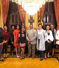 "Mayor Bernard C. ""Jack"" Young and Morgan State University SCOM 220 (Strategic Communication Writing) students during a Meet & Greet at City Hall."