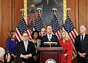 House Democratic leaders, including Chairman of the House Permanent Select Committee on Intelligence Adam Schiff at the podium, speak during a news conference on Capitol Hill Tuesday announcing two articles of impeachment against President Donald Trump.  (AP photo)