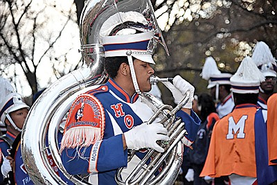 This was Morgan State University Marching Band first-ever appearance at the Macy's Thanksgiving Day Parade. Kevin Gross playing the Sousaphone
