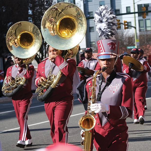 The brass section of Virginia Union University's Ambassadors of Sound Marching Band entertains the crowd.