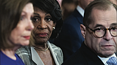 Congresswoman Maxine Waters, center, chair of the House Financial Services Committee, joins House Speaker Nancy Pelosi and Rep. Jerrold Nadler, chair of the House Judiciary Committee, during a news conference Tuesday announcing the articles of impeachment against President Trump.