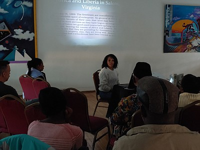 """Dr. Kerri Moseley-Hobbs had many reuniting with their African heritage and culture at the Eubie Blake National Jazz Institution & Cultural Center during her presentation of the """"More Than a Fraction: African American Heritage & Culture/Traveling African Artifact Exhibit,"""" recently."""