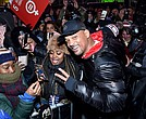 Will Smith and Josh Littlejohn on stage at The World's Big Sleep Out in Times Square