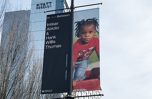 Art project by two noted black artists installed along Northeast Holladay in vicinity of Oregon Convention Center and new Hyatt ...