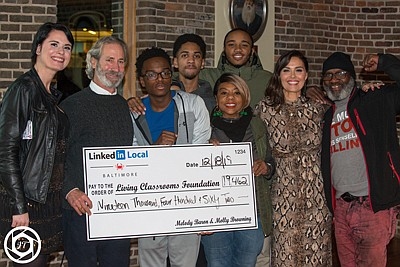 (Left To Right): Molly Browning, LinkedIn Local Baltimore co-host; James Piper Bond, President, and CEO of Living Classrooms Foundation; Antonio Moore, Living Classrooms alum; Antonio's mother, Charlotte Whitings; Melody Baron, LinkedIn Local Baltimore host; and Terry Williams. (Back row: Left to Right): Antonio's close friends, Matthew Johnson and Marquise Williams.