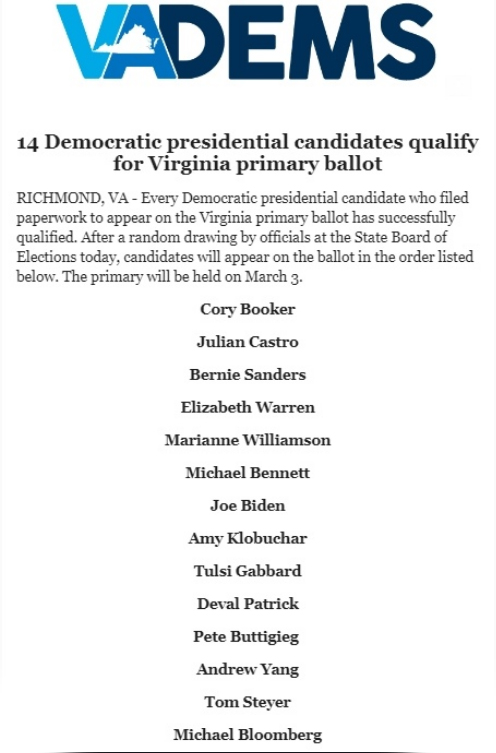 14 Candidates Make Dems Presidential Primary Ballot In Va Richmond Free Press Serving The African American Community In Richmond Va