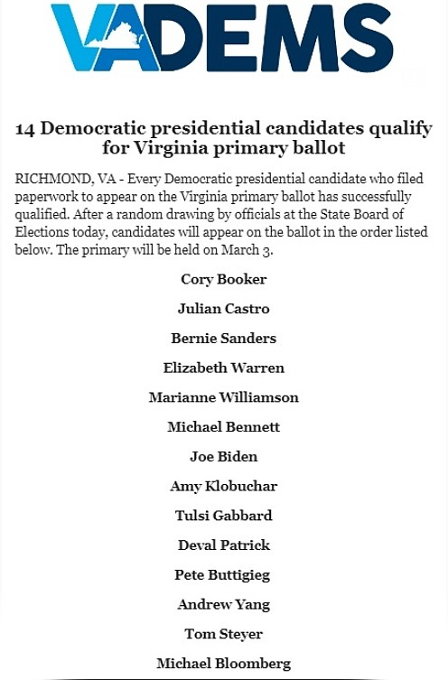 All 14 Democrats who filed to run in Virginia's March 3 Democratic presidential primary made the ballot, according to the ...