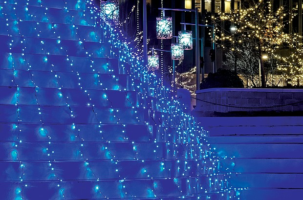 Downtown fountain in lights