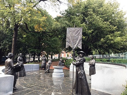 """""""Voices from the Garden: The Virginia Women's Monument"""" on Capitol Square features seven life-size bronze statues of noted Virginia women, with more to come. The monument was dedicated in October."""