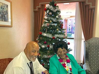 Aaron Von Moore and Bessie Elizabeth Harding. Moore is Harding's  great-nephew. She celebrated her 110th birthday in November.