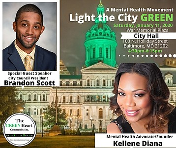 The GREEN Heart Community Inc. will light Baltimore City Hall's dome green on Saturday, January 11, 2020 to bring awareness to the importance of taking care of our mental health in Baltimore.