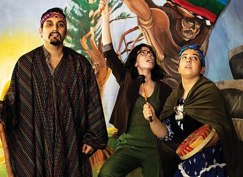 Indigenous people struggle to hold on to their homelands and culture against global industrialization and colonialism in 'Huínca,' an original bilingual theater production featuring Ajai Terraza Tripathi (from left), Emily Hogan and Catherine Rangel, coming Thursday, Jan. 9 through Saturday, Jan. 19 at Milagro Theatre, 525 S.E. Stark St.