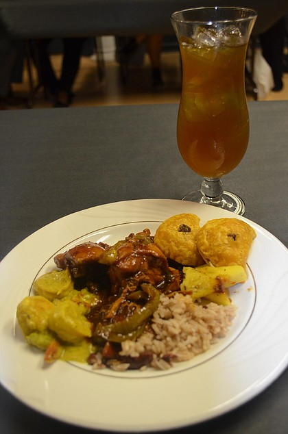 dishes from Cool Runnings with mango ice tea