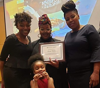 (Left-right): Fly Girl Network Founder Tiffany Ginyard; 2019 BNLP fellow Sarah Wallace; Baltimore Healthy Start Executive Director Lashelle Stewart; and 4-year-old Eden Wallace, Sarah's daughter.