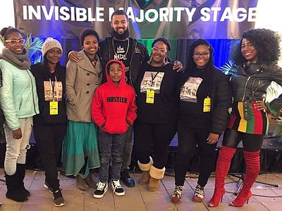 Sarah Wallace (third from the right) and the crew under Invisible Majority Baltimore tent at the 2019 Baltimore Book Festival (l to r): Carlissia Young, Samierra Jones, Catalina Byrd, Mia Loving, Aaron Maybin, Sarah Wallace, Nikiea Redmond, and Shawna Divine.