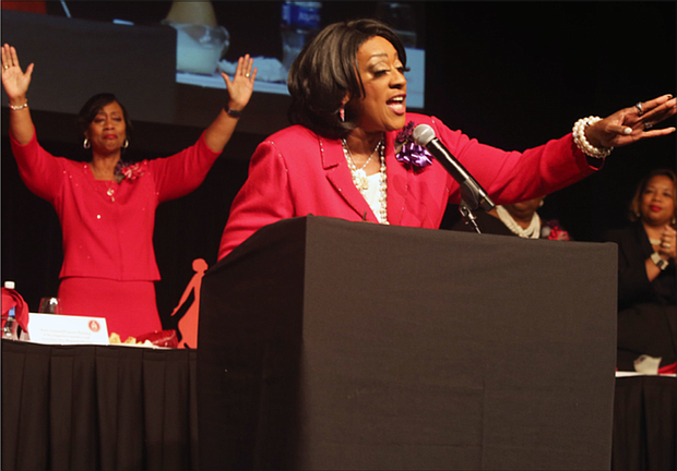 Dr. Gwendolyn E. Boyd, an engineer, minister and former president of Alabama State University, delivers the keynote message for Delta Sigma Theta Sorority's Virginia Statewide 107th Founders Day program last Saturday at the Greater Richmond Convention Center in Downtown.
