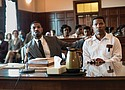 """Michael B. Jordan (left) and Jamie Foxx in a scene from """"Just Mercy,"""" a new historical drama about a young black lawyer, Bryan Stevenson (Jordan), and his history-making battle for justice.."""