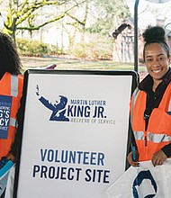 Volunteers honor the legacy of Dr. Rev. Martin Luther King Jr. by participating with SOLVE in the United Way's MLK Weekend of Service picking up litter on Northeast Martin Luther King Jr. Boulevard. Sixty community projects are part of this year's weekend of service and you can still signup at unitedway-pdx.org/mlk.