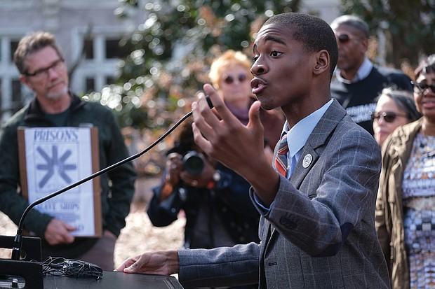 youth activist and motivational speaker Elijah Coles-Brown, 15, addresses participants at the rally.