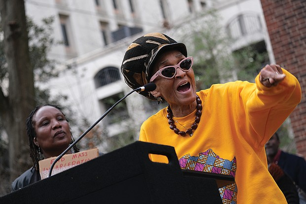 """Janet """"Queen Nzinga"""" Taylor of the Defenders for Freedom, Justice and Equality urges the crowd at last Saturday's prison reform rally to spread awareness of the issues."""