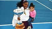 Tennis star Serena Williams holds both her daughter, Alexis Olympia Ohanian Jr., and the ASB trophy after winning the singles title last Sunday at the ASB Classic, also known as the Auckland Classic, in New Zealand.