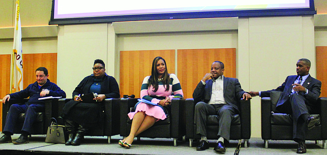 (from left) Ald. Raymond Lopez (15th), Ald. Jeanette Taylor (20th), Ald. Stephanie Coleman (16th), Ald. Roderick Sawyer (6th), and Ald. David Moore (17th) all represent the Englewood community on the South Side and all participated in their first-ever town hall meeting together on Jan. 14, 2020 at Kennedy-King College. Photo credit: By Wendell Hutson