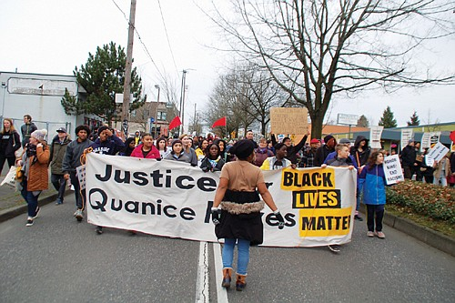 """Hundreds of people take to the street on Martin Luther King Day Monday to fight racism, gun violence and discrimination in an annual Reclaim MLK protest sponsored by the local civil rights organization Don't Shoot. No permits were sought and traffic was temporarily blocked. The protesters carried signs, including ones that said, """"Black Lives Matter"""" and """"Justice for Quanice Hayes."""""""