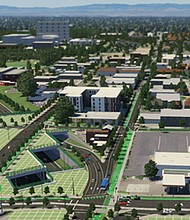 An artist's rendering shows proposed caps over I-5 in the Rose Quarter area that could only support a park or plaza. The Oregon Department of Transportation will now consider making the caps suitable to hold buildings after complaints by advocates for the African American community who want buildable lots to restore historic displacement going back decades.