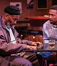 Victor Mack (left) and La'Tevin Alexander star in 'Sweat,' a Pulitzer-Prize winning play that gives insight to the struggles of workers who fall into despair when they lose their jobs in the face of industrial decline.