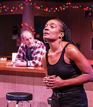 Cynthia (Cycerli Ash) struggles with the loss of good paying factory jobs and the effects of company management decisions in 'Sweat,' a Pulitzer-Prize winning play by African-American playwright Lynn Nottage, now playing through Feb. 2 at Imago Theater, 17 S.E. Eighth Ave.