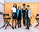 WNBA players Chiney Ogwimike, Nneka Ogwumike and Layshia Clerendon with WNBA Commissioner Cathy Engelbert the day of the CBA annoucement