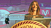 Speaker of the House Eileen Filler-Corn of Fairfax County addresses an audience of about