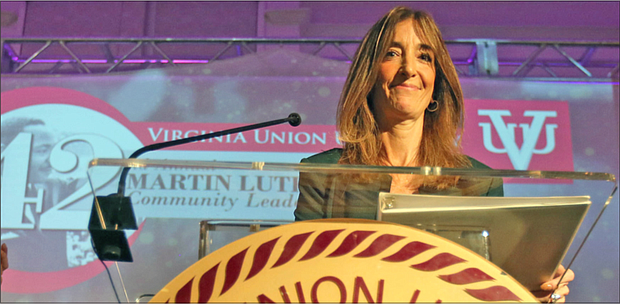 Speaker of the House Eileen Filler-Corn of Fairfax County addresses an audience of about 700 people at the annual Martin Luther King Jr. Community Leaders Breakfast on Jan. 17 in Downtown. She is the first woman and first Jewish speaker in the legislature's 401-year history.