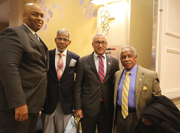 """From left, Delegate Lamont Bagby of Henrico, chairman of the Virginia Legislative Black Caucus; former state Sen. Henry L. Marsh III, Richmond's first African-American mayor; 3rd District Congressman Robert C. """"Bobby"""" Scott; and Henrico County Supervisor Frank J. Thornton, Fairfield District, pose for a photograph before the event's start."""